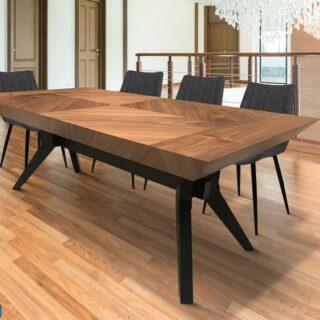 💢בתצוגה💢  שולחן פינת אוכל בעיצוב מודרני 2021  תפירות פורניר אגוז אמריקאי בשילוב רגלי עץ שחורות.   📏 180X110 + הגדלה 200 ס״מ    * 4 כסאות מתנה   #diningroom #table #walnuttree